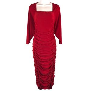 Beautiful Red Ruched Stretchy Dress